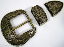 BELT BUCKLES metal casual dress western accessories 3pc BUCKLE SET 1.5 inch NWOT