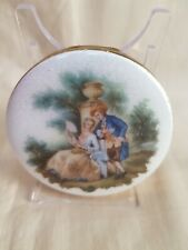 Lovely Vintage Powder Compact Enamel Lid with Regency Style Couple c1960s