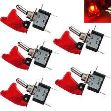 5PCS 12V Red Cover LED Toggle Switch Racing SPST ON/OFF 20A for Car ATV