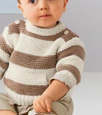 KNITTING PATTERN- EASY ARAN KNIT STRIPED BABY JUMPER/SWEATER HAS POCKET 3-24 MON