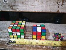 1982 ideal Rubik's Cube puzzle 4x4 & 3x3 plus bonus mini cube sticker less