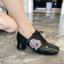 Women Fashion Leather Floral Embroidered Square Toe Block Heel Lace Up Shoes BTR