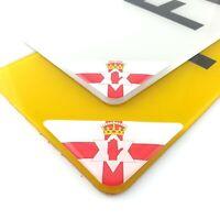 Northern Ireland Flag Number Plate Corner Sticker 50mm x2 Domed Gel Coated Decal