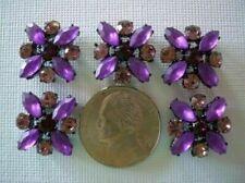 2 Hole Slider Beads X-Flower Purple/Amethyst Crystal Made w/Swarovski Elements#5