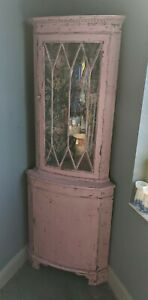 Antique glazed corner cupboard - rustic painted pink with original key