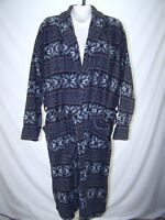 Faded Glory GRay Black Red Long Sleeve Two PocketFleece Robe Mens One Size