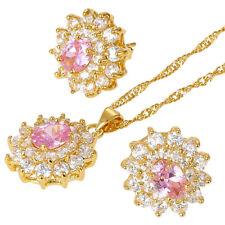 Melina Jewelry Set Pink Flower Oval Cut Necklace Pendant Earrings