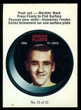 1968-69 OPC O PEE CHEE Puck Sticker Insert #15 JACQUES PLANTE NM St. Louis Blues