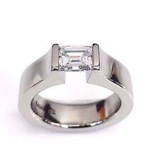 Tension Set Heavy Platinum Diamond Wedding Ring GIA E VVS2 1.07 Ct. Center