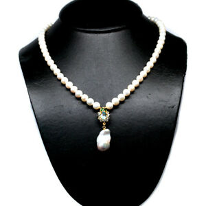 """NATURAL WHITE BARQUE WITH ROUND PEARL TOPAZ DIOPSIDE &CZ NECKLACE 19"""" 925 SILVER"""