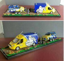 1/43 MICHELIN GREENLIGHT FORD TRANSIT & MINICHAMPS ESCORT COSWORTH WRC diorama