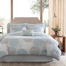 9 Piece Madison Park Essentials Covina Aqua Polyester Queen Comfort Set*