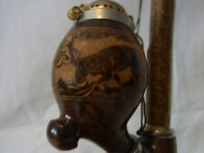 Vintage German Bavaria Carved Wood Pipe Black Forest Fighting Deer #BG2