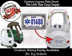 Toy Restore Replacement Stickers Ambulance License Plate Fits Little Tikes Car