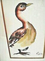 RARE Original CHINESE BRUSH PAINTING Signed Virginia Lloyd Davies Bird Watercolo