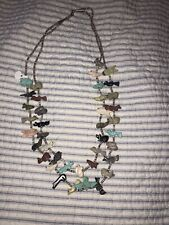 Vintage Zuni Native American Carved Fetish Beaded Animal Turquoise Necklace