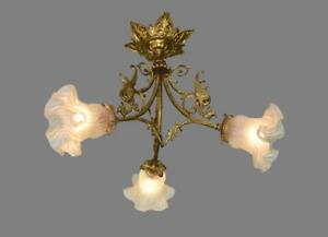 French Victorian Ormolu Bronze Lighting Chandelier Lamp with Griffins