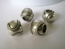 4 Antique Silver Baseball Beads, 10x9mm, Jewelry Making Supplies, Bead  G1163