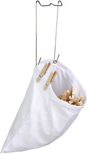 Honey-Can-Do DRY-01313 Hanging Cotton Clothespin Bag w/ Metal Hanger, White