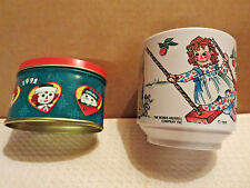 Raggedy Ann Andy Child's Kid's Cup Vintage 1969 Snowden Collector's Tin 1998