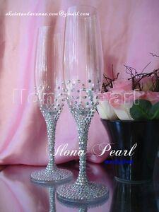 Swarovski Crystal Personalized Wedding Champagne Wine Toast Glass Flute Sparkle