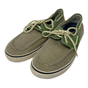 Sperry Top-Sider Mens Size 9.5M Green Canvas Boat Shoes