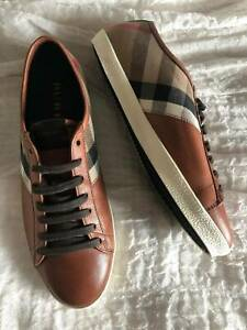 Burberry brown and white logo patterned sneakers size 42