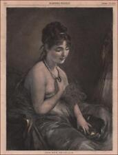 BEAUTIFUL WOMAN with NEW PEARL NECKLACE, hand colored engraving original 1875