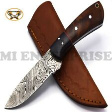 Handmade Damascus Steel Hunting Knife With Wood Handle
