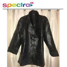 Real Leather Jacket Women Chaqueta de Abrigo de invierno de cuello de piel sintética Negro - 2XL Reino Unido 20/22