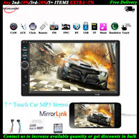 "7""2 DIN Touch Screen Autoradio Bluetooth AUX Stereo Mirror Link TF MP5 Lettore"