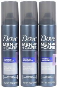 3 Dove Men Care Control Spray Full Look Strong Hold Natural Finish Unscented 7oz