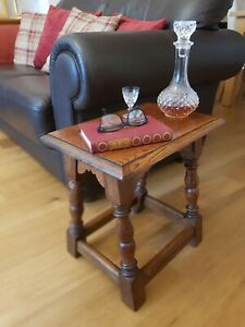 Vintage Quarter Sawn Oak Wood Coffin or Joint Stool used as Side or Wine Table