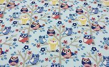 "WAVERlY SIT N A TREE BLUEBONNET BLUE OWL BIRD TREE FABRIC BY THE YARD 54""W"