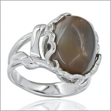 8.0ct Sunstone Cabochon In Sterling Silver Filigree Classic Ring Size 7.0 #91053