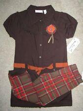 Kids Headquarters Girls 2 Piece Brown Tunic Dress set Size 6X NWT