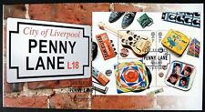 GREAT BRITAIN BEATLES PENNY LANE FDC 2007 WITH STAMP SHEET OF 4 ROCK MUSICIANS
