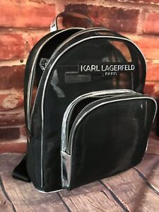 Karl Lagerfeld Paris Metallic Trim Sheer MeshClear Mochila Mujer Auténtica $148
