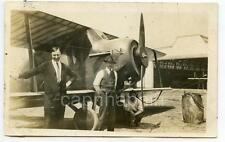 Men and Biplane Aircraft Hangar Vintage 1920s Real Photo Postcard