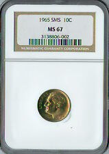 1965 ROOSEVELT DIME NGC MS-67 SMS  .