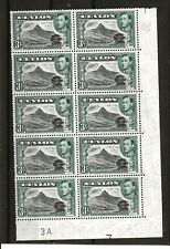 CEYLON (356) 1938 SG387b 3d PLATE BLOCK 4B 8 BLOCK OF 10 UNMOUNTED MINT