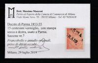 FRANCOBOLLI - 1853/55 PARMA C.15 VERMIGLIO E/2444