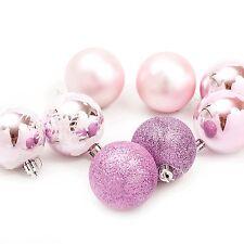 ALBERO di Natale da appendere pallina decorazioni (60mm) 8 x Plain/Rosa Glitter