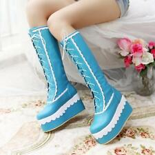 Women's party Wedge Heels Lace-up Cosplay Knee High Boots Platform Lolita Shoes