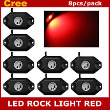 8X 3-CREE 9W LED Rock Light For Jeep Wrangler Truck SUV Off-Road Boat Bright Red