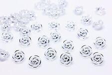 Rose Shank Button Flowers Clear Transparent Silver Blouse Shirt 13mm 20pcs