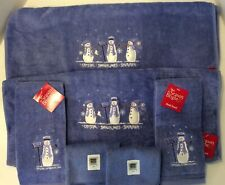New listing Nwt Set of 6 Plush Delft Blue Embroidered Snowman Towels