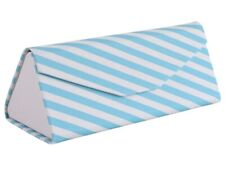 Folding Triangle Collapsible Flat Sunglass Glasses Hard Case Box Magnetic Blue