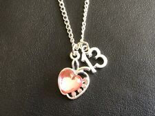 """13TH BIRTHDAY  PINK APPLE  NECKLACE  AGE CHARM 18"""" Silver Plated Chain Gift"""