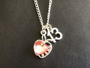 """13TH BIRTHDAY NECKLACE WITH PINK APPLE  & AGE CHARM 18"""" Silver Plated Chain Gift"""